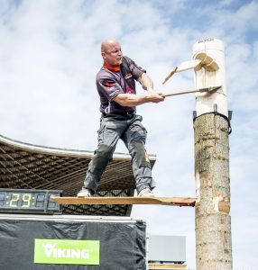 Athlete performs during the LIGNACup / STIHL® TIMBERSPORTS® SERIES in Hannover, Germany on May 9, 2013.
